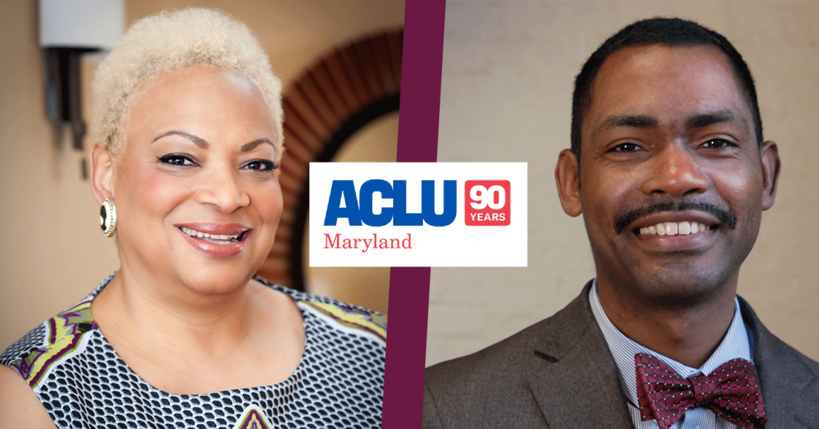 Dana Vickers Shelley and John Henderson photos with the 90 years ACLU of Maryland logo in the middle