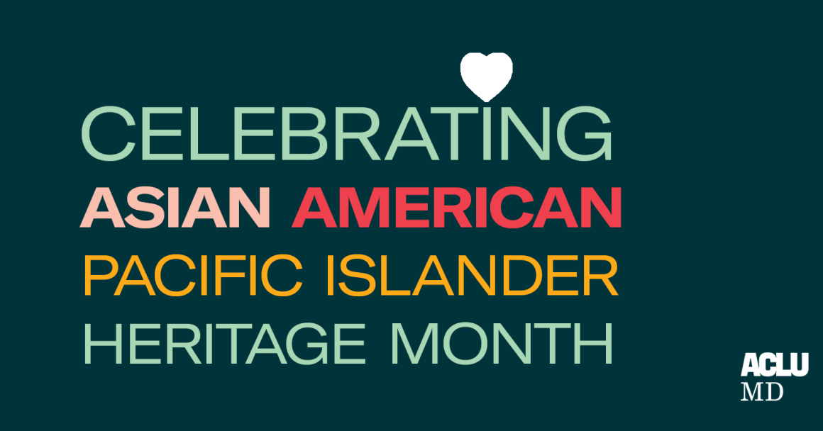 Celebrating Asian American Pacific Islander Heritage Month. Each line of text is in a different color. The background is dark green.